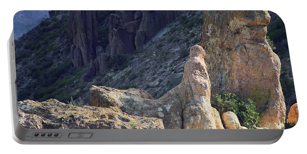 Rock Formations Portable Battery Charger featuring the photograph A Hard Ride by Kathy McClure
