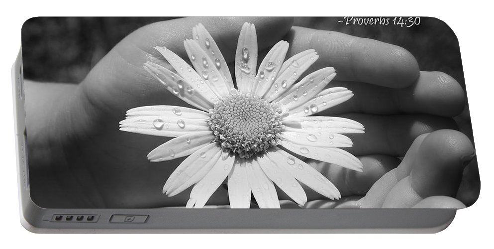 Black And White Portable Battery Charger featuring the photograph A Heart At Peace by Denise Irving