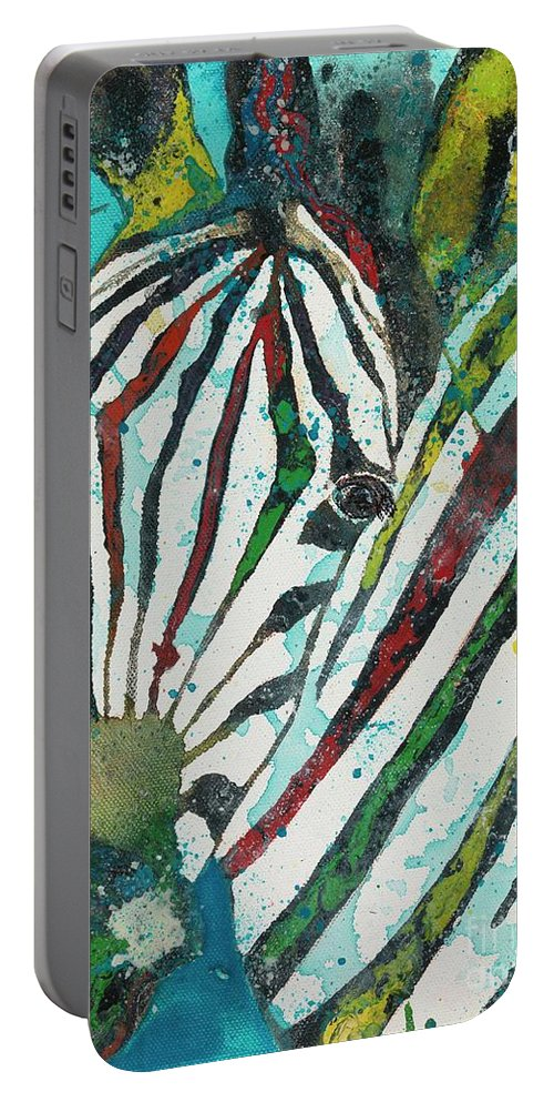 Zebra Portable Battery Charger featuring the painting A Horse Of A Different Color by Kasha Ritter