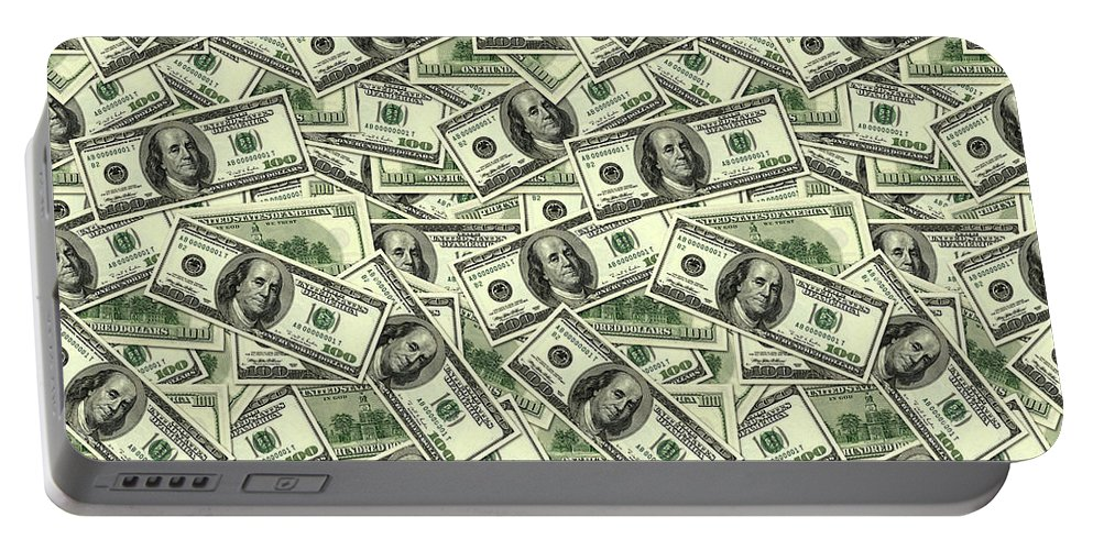 Money Portable Battery Charger featuring the digital art A Hundred Dollar Bill Banknotes by Long Shot
