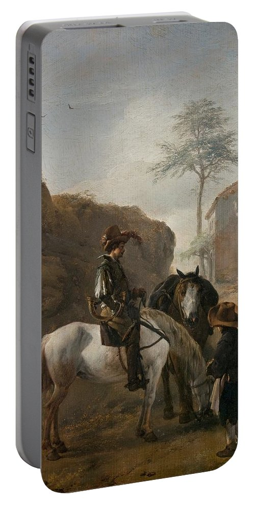 Wouwerman Portable Battery Charger featuring the painting A Huntsman by MotionAge Designs