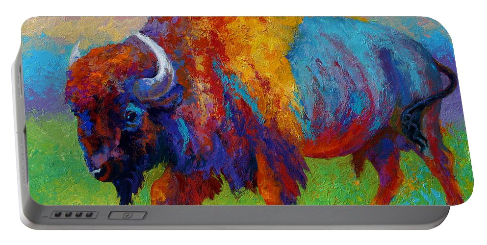Wildlife Portable Battery Charger featuring the painting A Journey Still Unknown - Bison by Marion Rose