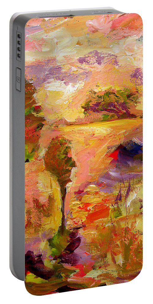Colorful Canvas Prints Portable Battery Charger featuring the painting A Joyous Landscape by Julianne Felton