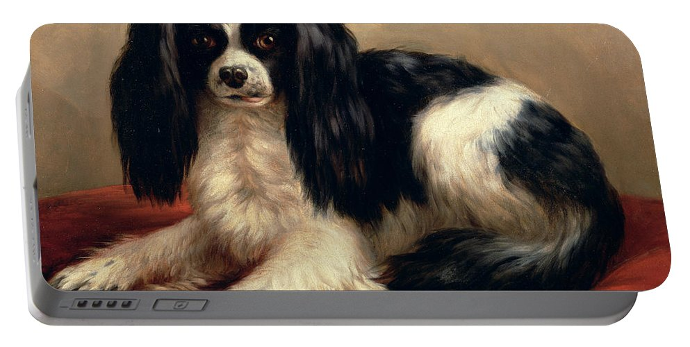 A King Charles Spaniel Seated On A Red Cushion Portable Battery Charger featuring the painting A King Charles Spaniel Seated On A Red Cushion by Eugene Joseph Verboeckhoven