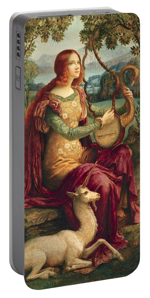 Armand Point Portable Battery Charger featuring the painting A Lady With A Unicorn by Armand Point