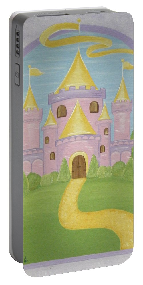 Fairytale Portable Battery Charger featuring the painting A Land Far Away by Valerie Carpenter