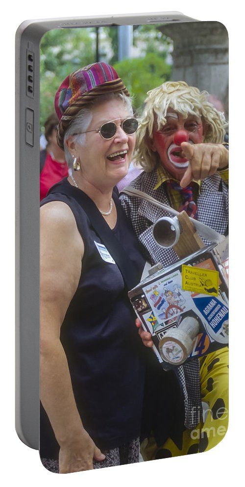 Havana Cuba Street Scene Park Parks Streets People Person Persons Creature Creatures Clown Clowns Man Men Woman Women Portable Battery Charger featuring the photograph A Laugh In The Park by Bob Phillips