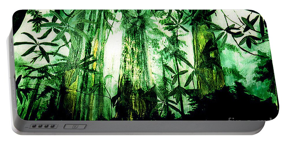 A Light In The Forest Portable Battery Charger featuring the painting A Light in the Forest by Seth Weaver