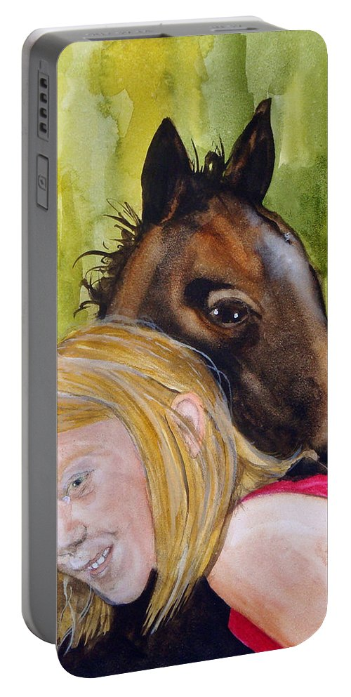 Equine Portable Battery Charger featuring the painting A Little Girl's Fancy by Jean Blackmer