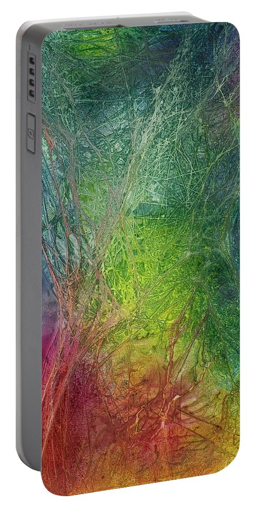 Abstract Portable Battery Charger featuring the painting A Long Stretch by Renee Chastant
