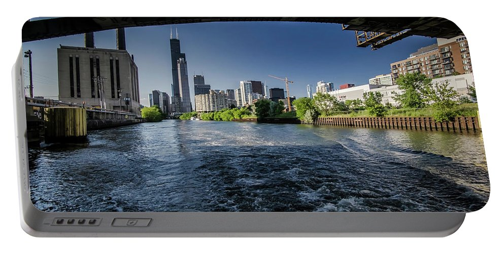 Roosevelt Road Bridge Portable Battery Charger featuring the photograph A Look At The Chicago Skyline From Under The Roosevelt Road Bridge by Sven Brogren