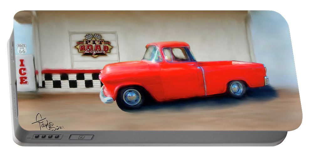 Paintings Of Cars Portable Battery Charger featuring the painting A Lot Of Fire A Little Ice by Colleen Taylor