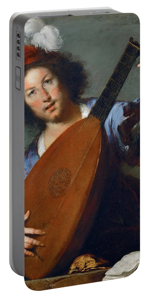 Bernardo Strozzi Portable Battery Charger featuring the painting A Lute-player by Bernardo Strozzi