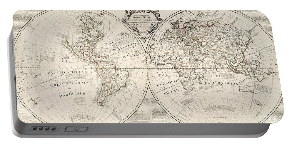 Map Portable Battery Charger featuring the painting A Map of the World by John Senex