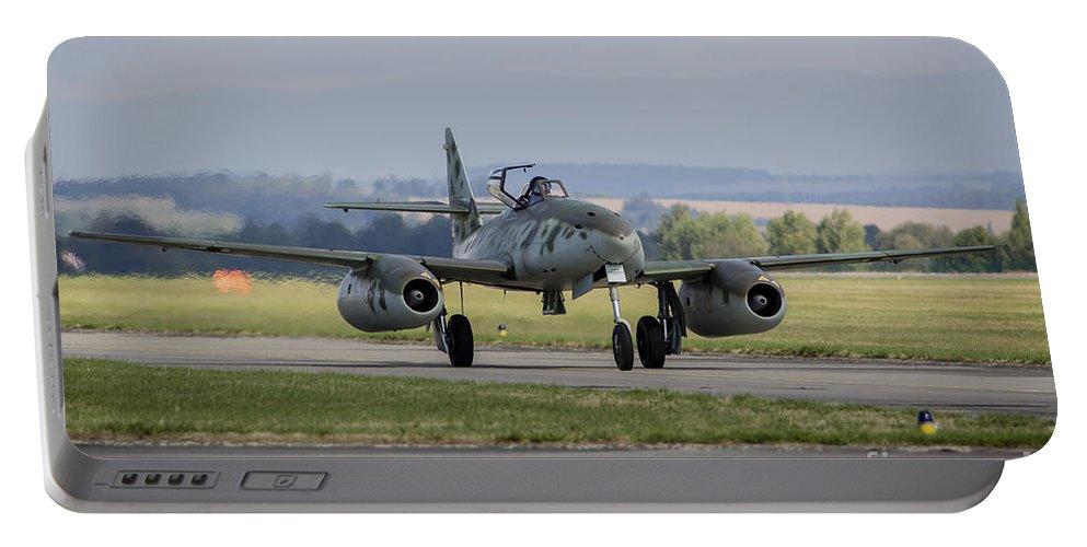 Hradec Kralove Portable Battery Charger featuring the photograph A Messerschmitt Me-262 Replica Taxiing by Timm Ziegenthaler