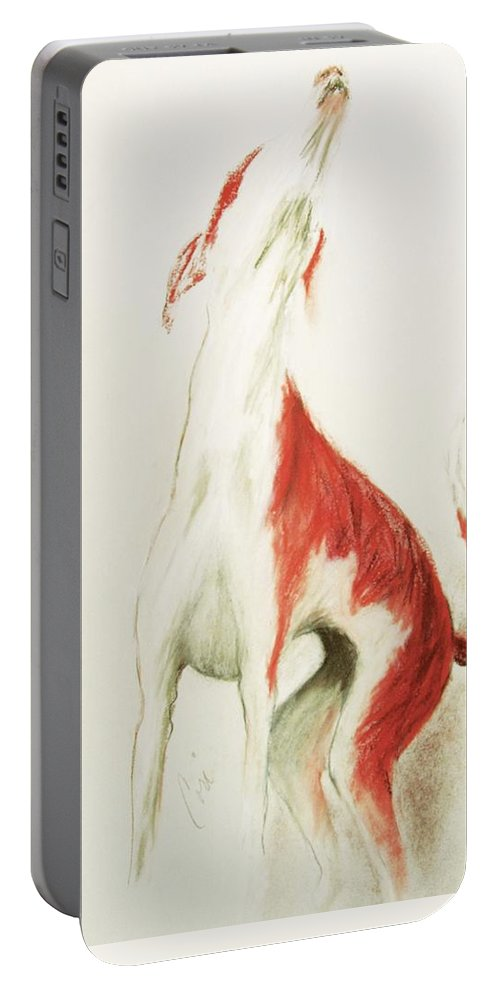 Pastel Portable Battery Charger featuring the drawing A Moment In Time by Cori Solomon