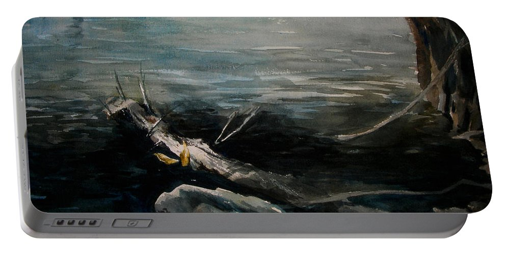 Landscape Portable Battery Charger featuring the painting A Moment In Time by Rachel Christine Nowicki