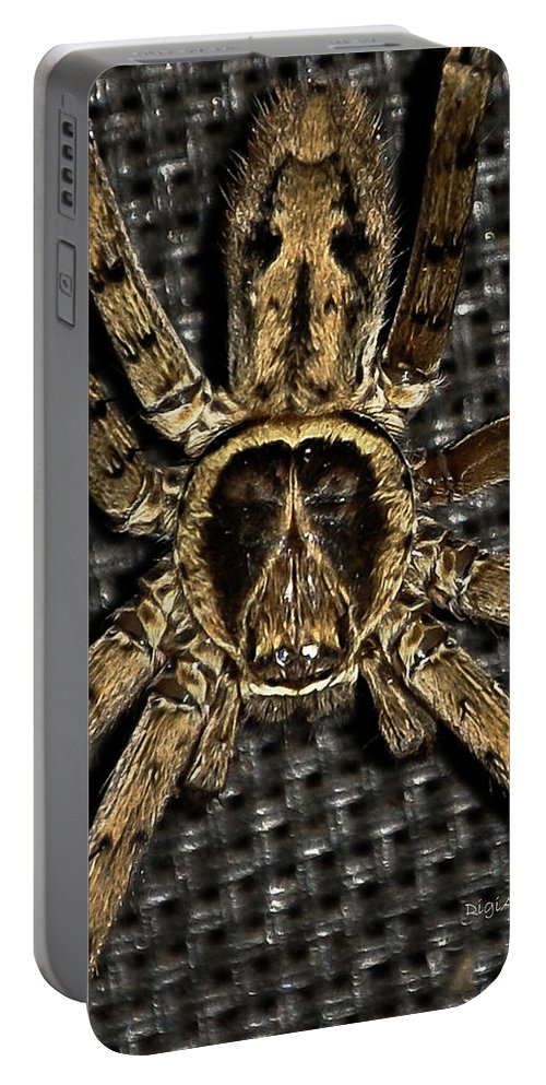 Spider Portable Battery Charger featuring the photograph A Monkey On Its Back by DigiArt Diaries by Vicky B Fuller