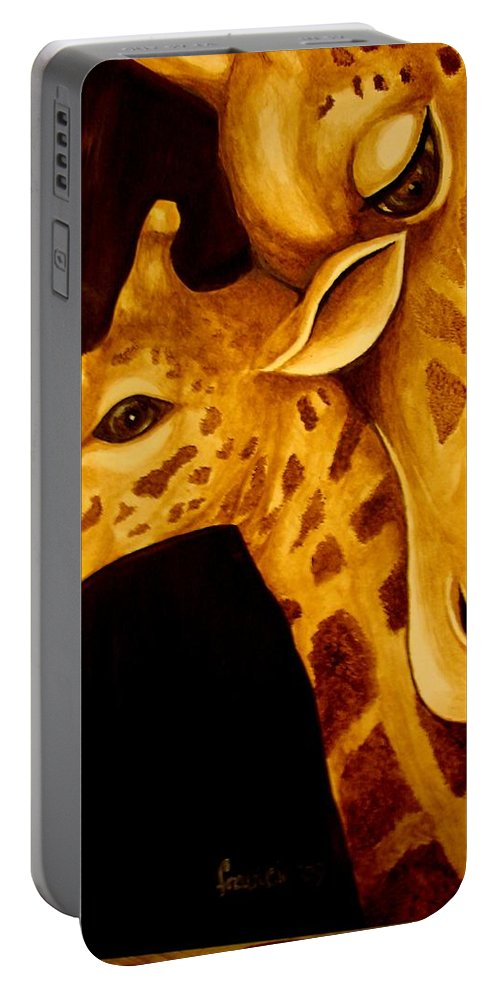 Portable Battery Charger featuring the painting A Mother by Glory Fraulein Wolfe