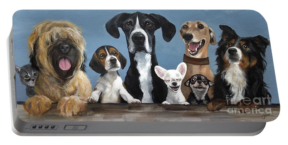 Dog Portable Battery Charger featuring the painting A Motley Crew by June Huff