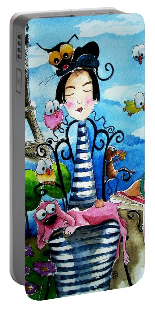 Stressie Cat And Friends Parisian Scene Paris French France Portable Battery Charger featuring the painting A Moveable Feast by Lucia Stewart