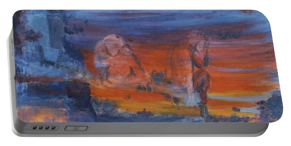 Abstract Portable Battery Charger featuring the painting A Mystery Of Gods by Steve Karol