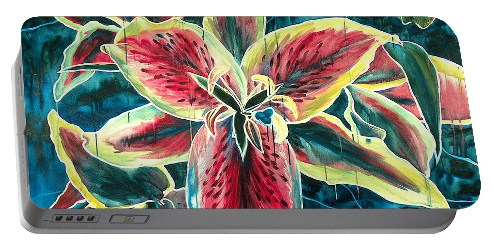 Floral Painting Portable Battery Charger featuring the painting A New Day by Jennifer McDuffie