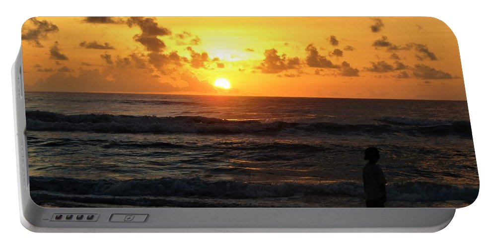 Sunrise On The Beach Portable Battery Charger featuring the photograph A New Day by Judy Bugg Malinowski