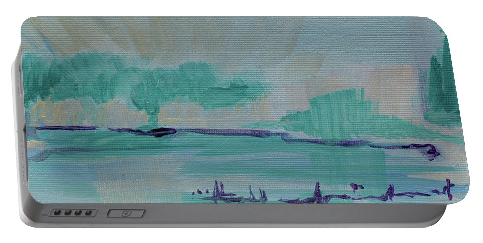 Christian Portable Battery Charger featuring the painting A New Earth by Kathleen Sandoval