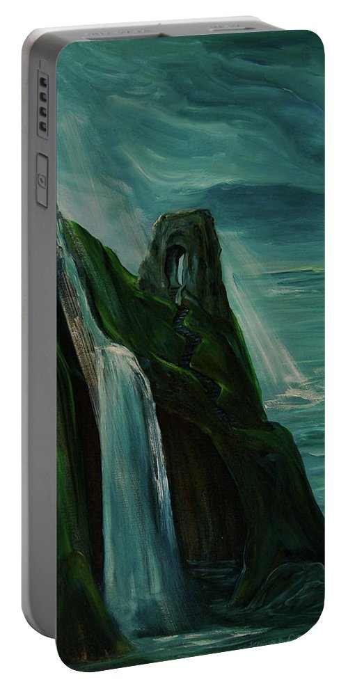 England Portable Battery Charger featuring the painting A New Light On The Norman Ruins by Jennifer Christenson