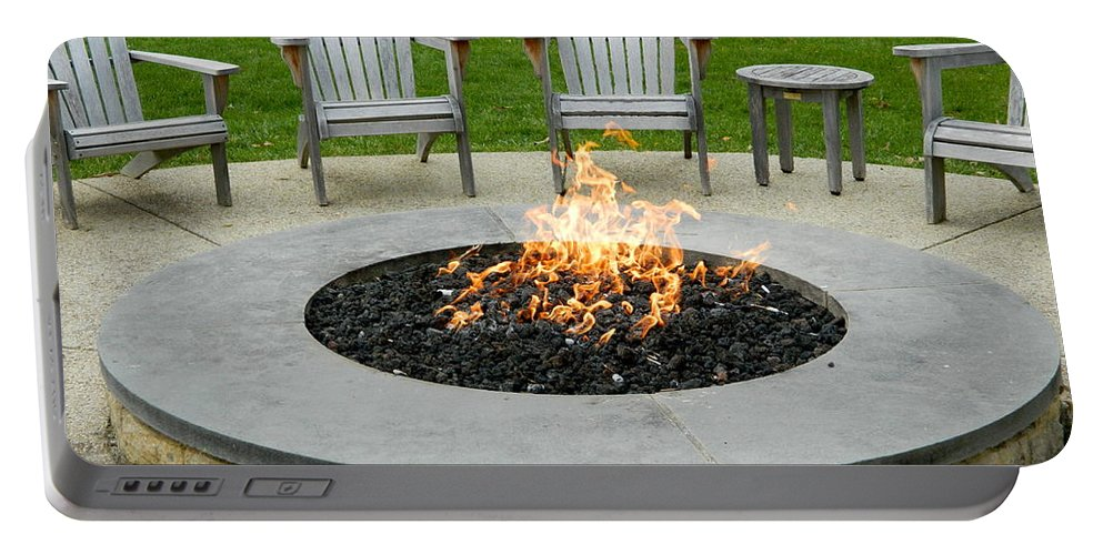 Fire Portable Battery Charger featuring the photograph A Nice Cozy Fire by Arlane Crump