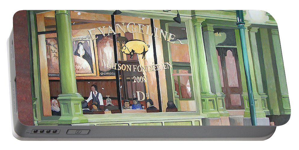 Restaurant Portable Battery Charger featuring the painting A Night At Evangeline by Dominic White