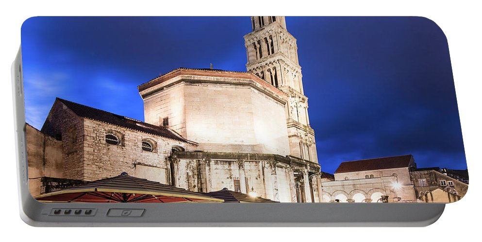 Balkans Portable Battery Charger featuring the photograph A Night View Of The Cathedral Of Saint Domnius In Split by Didier Marti
