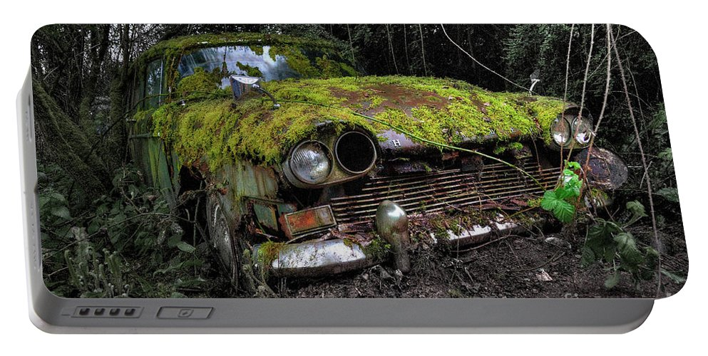 Humber Portable Battery Charger featuring the photograph A Non Rolling Car Gathers Some Moss by Rob Hawkins