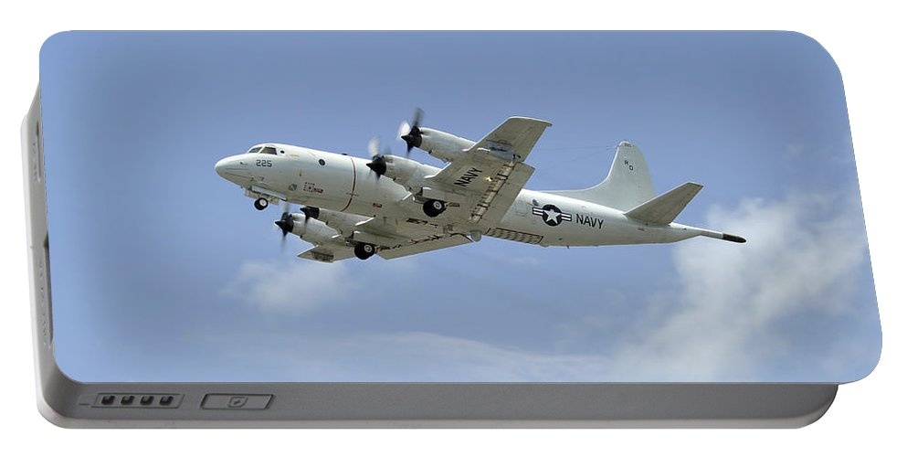 Rimpac Portable Battery Charger featuring the photograph A P-3c Orion Aircraft Takes by Stocktrek Images
