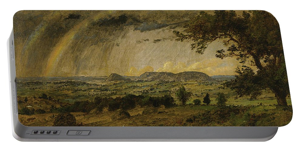 Jasper Francis Cropsey Portable Battery Charger featuring the painting A Passing Shower Over Mts Adam And Eve by Jasper Francis Cropsey