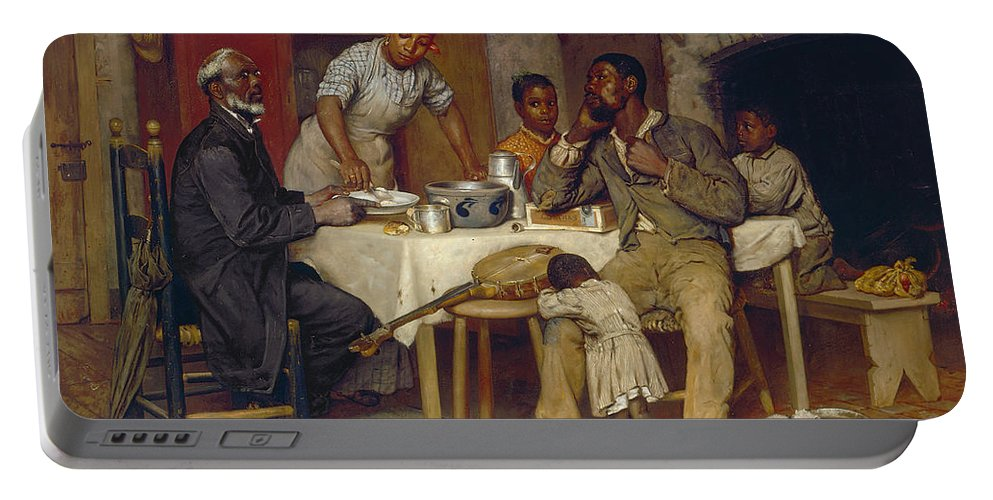 Domestic Portable Battery Charger featuring the painting A Pastoral Visit by Richard Norris Brooke