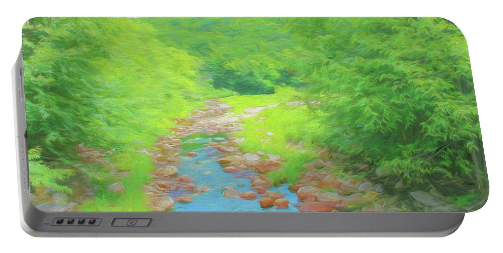 Landscape Portable Battery Charger featuring the digital art A Peaceful Summer Day In Southern Vermont. by Rusty R Smith