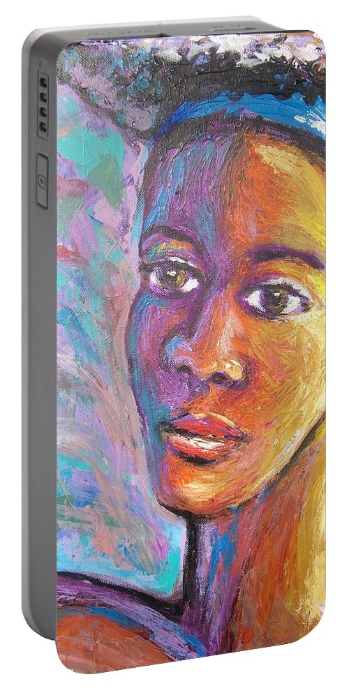 Portable Battery Charger featuring the painting A Pensive Moment by Jan Gilmore