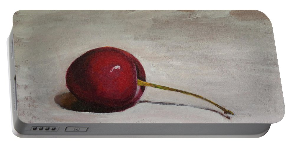 Cherries Portable Battery Charger featuring the painting A Perfect Cherry by Diana Marino