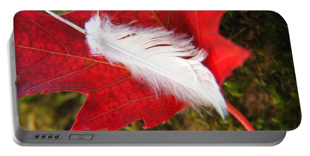 Red Portable Battery Charger featuring the photograph A Perfect Fall by Katie Wing Vigil