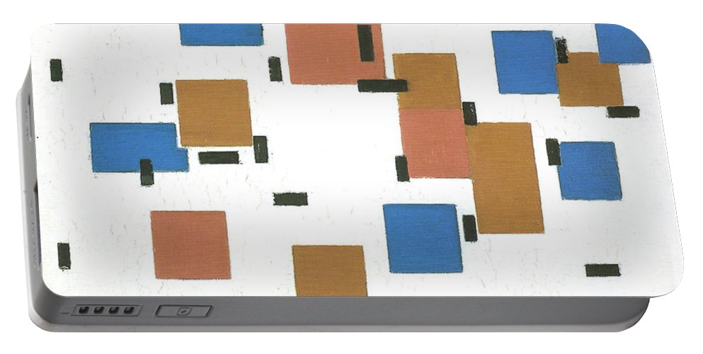 Composition With Colours A Piet Mondrian Portable Battery Charger featuring the painting A Piet Mondrian by MotionAge Designs