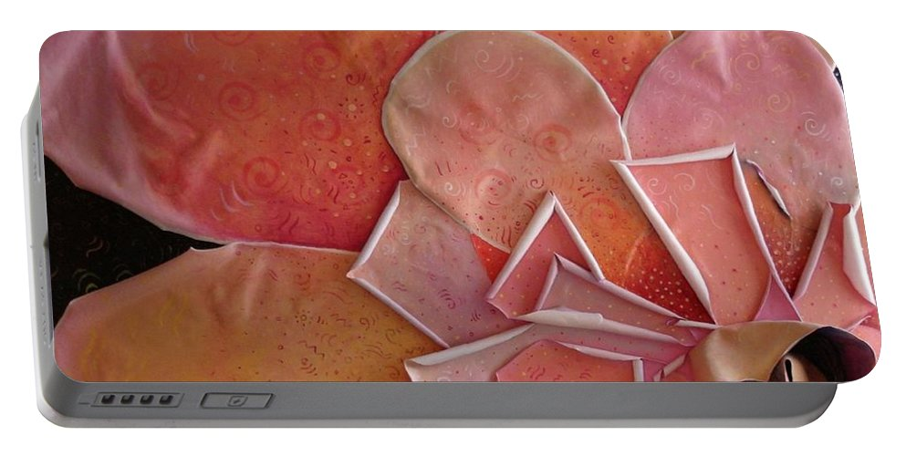 Sculptural Portable Battery Charger featuring the painting A Pink Experience by Helena Tiainen