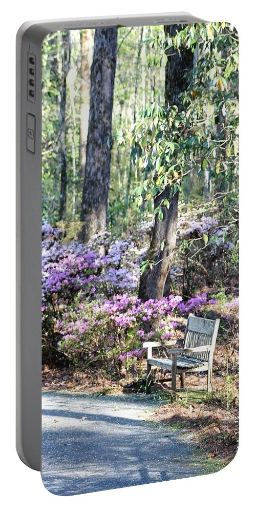 Gardens Portable Battery Charger featuring the photograph A Place To Rest by Gayle Miller