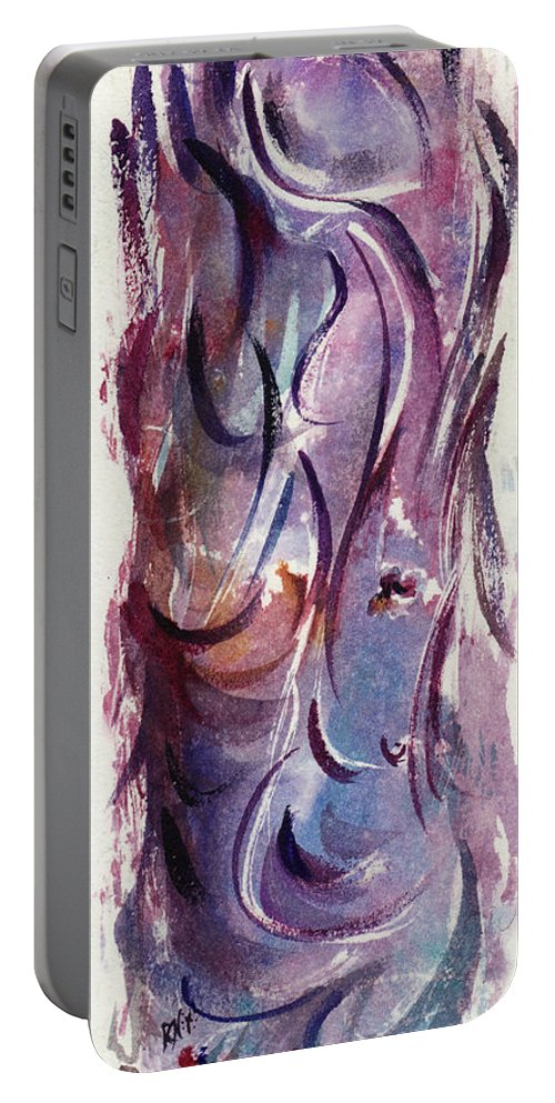 Floral Portable Battery Charger featuring the painting A Pretty Moment by Rachel Christine Nowicki