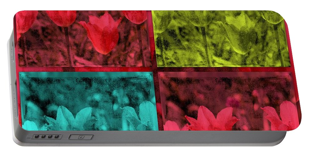 Quadruple Portable Battery Charger featuring the photograph A Quadruple Of Tulips by Susanne Van Hulst