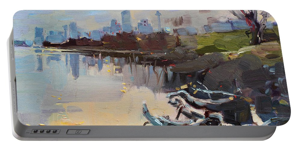 Landscape Portable Battery Charger featuring the painting A Quiet End Of Day by Ylli Haruni