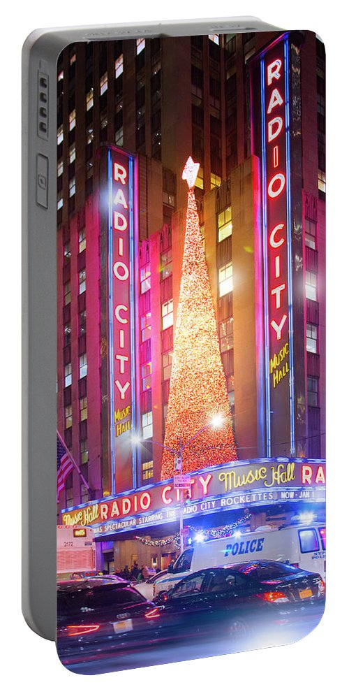 Radio City Music Hall Portable Battery Charger featuring the photograph A Radio City Music Hall Christmas by Mark Andrew Thomas