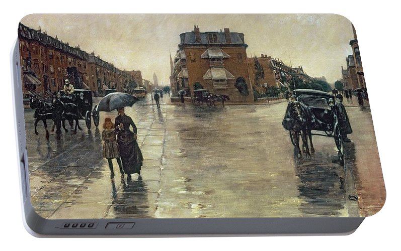 Rainy Portable Battery Charger featuring the painting A Rainy Day In Boston by Childe Hassam
