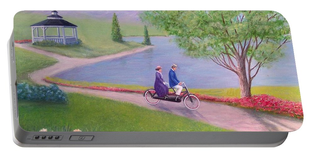 Landscape Portable Battery Charger featuring the painting A Ride In The Park by William H RaVell III